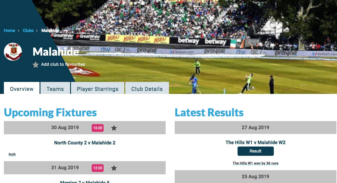 Cricket Leinster clubs page