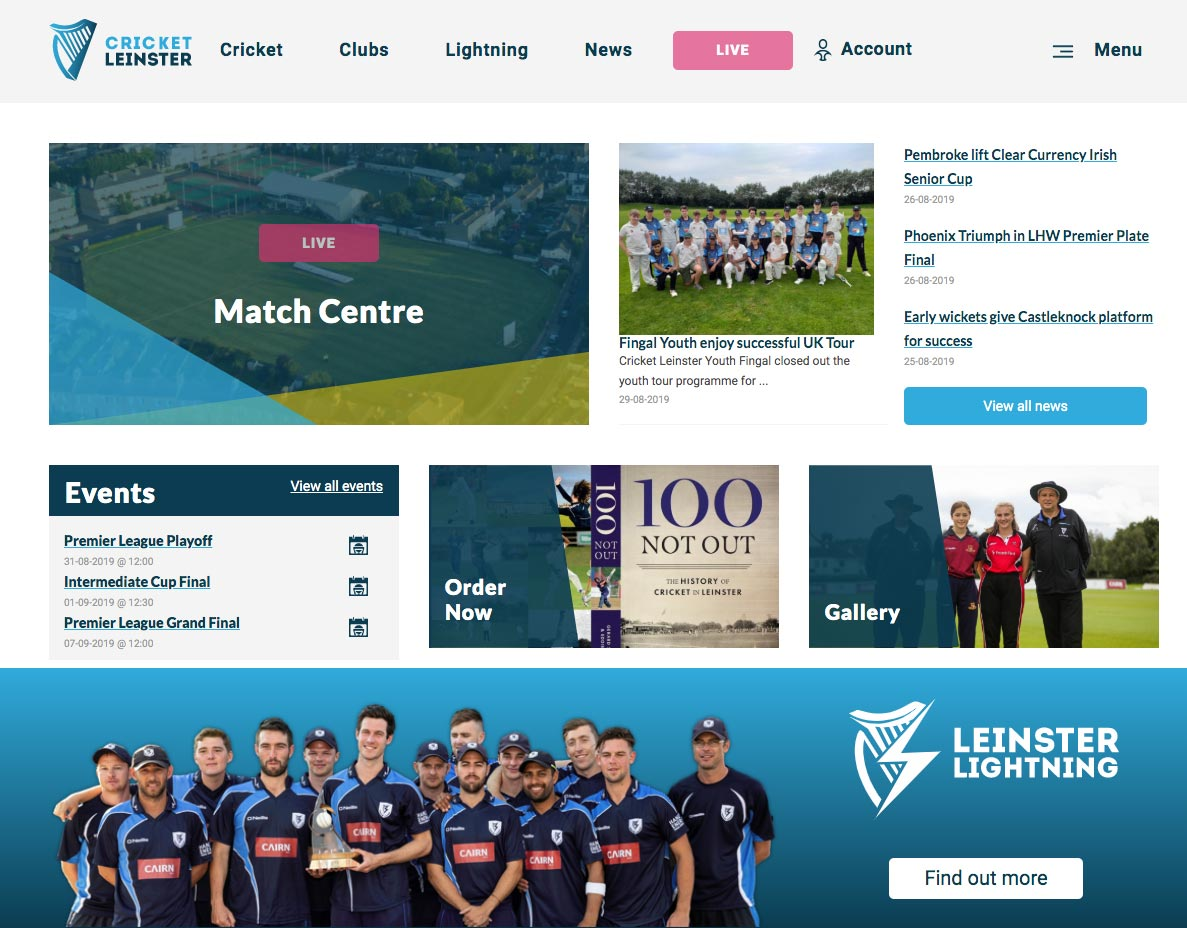 Cricket Leinster homepage