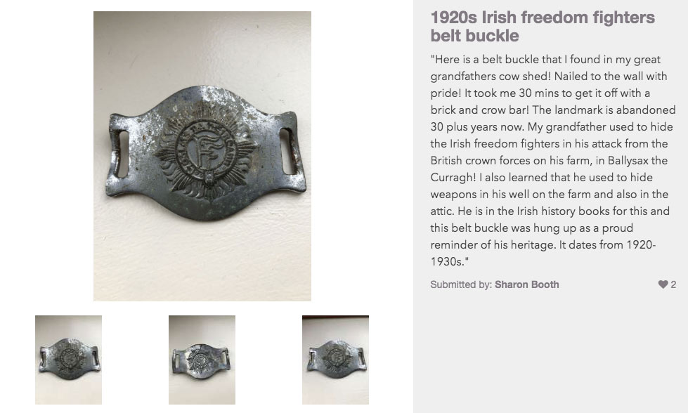 National Treasures item description page featuring freedom fighters belt buckle